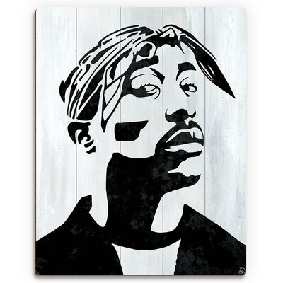 'Tupac White and Black Self Portrait' Graphic Art Print on Wood Size: 12