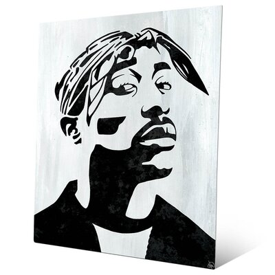 'Tupac White and Black Self Portrait' Graphic Art Print on Metal Size: 10