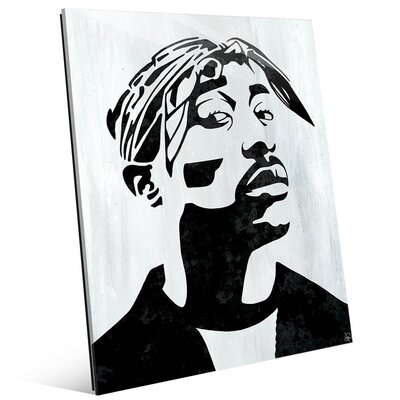 'Tupac White and Black Self Portrait' Graphic Art Print on Glass Size: 10