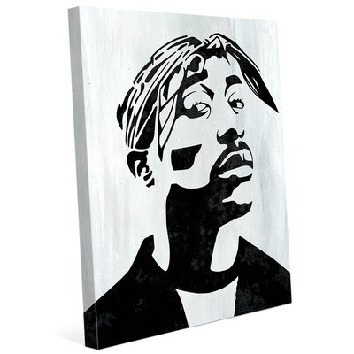 'Tupac White and Black Self Portrait' Graphic Art Print on Canvas Size: 10