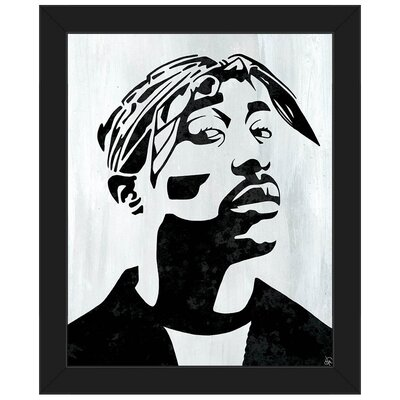 'Tupac White and Black Self Portrait' Framed Graphic Art Print on Canvas Format: Black Framed, Size: 26.5
