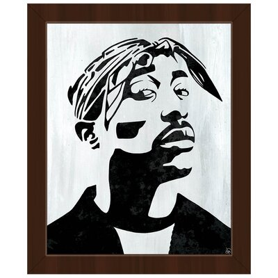 'Tupac White and Black Self Portrait' Framed Graphic Art Print on Canvas Format: Espresso Framed, Size: 26.5