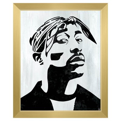 'Tupac White and Black Self Portrait' Framed Graphic Art Print on Canvas Format: Gold Framed, Size: 26.5