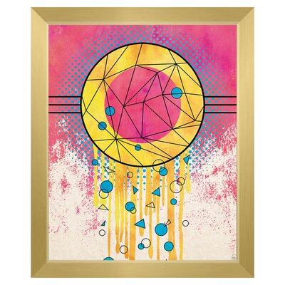 'Creative Dream Catcher' Framed Graphic Art Print on Canvas Format: Barn-Wood Brown Framed, Size: 17.5