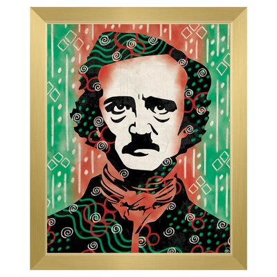 'Wild Edgar Allan Poe' Framed Graphic Art Print on Canvas Size: 11