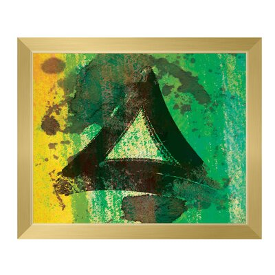 'Emerald Painted Triangle' Framed Graphic Art Print on Canvas Size: 11