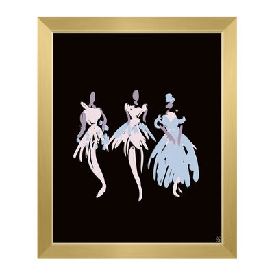'Ballerinas' Framed Graphic Art Print on Canvas in Blue Size: 11