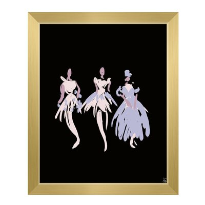 'Ballerinas' Framed Graphic Art Print on Canvas in Purple Size: 11
