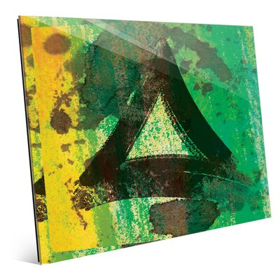 'Emerald Painted Triangle' Graphic Art Print on Glass Size: 11