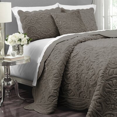 Charlotte Polyester 3 Piece Coverlet Set Size: King