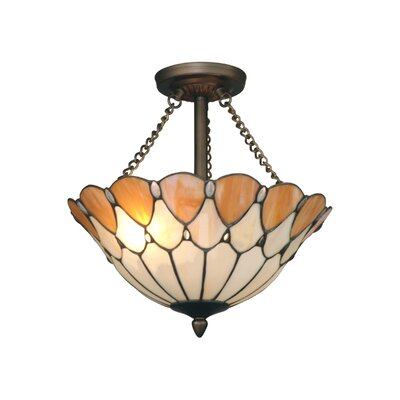 Scalloped Jeweled 2-Light Flush Mount