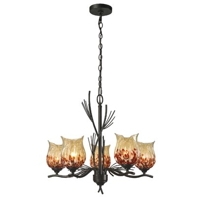 Spotted Owl 5-Light Shaded Chandelier