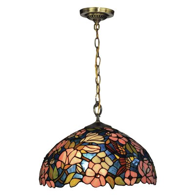 Furniture-Floral 1 Light Bowl Pendant