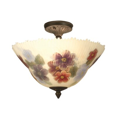 Rose Dragonfly 3-Light Semi Flush Mount