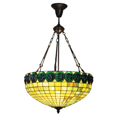 Turtleback 3-Light Inverted Pendant Shade Color: Neon