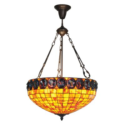 Turtleback 3-Light Inverted Pendant Shade Color: Orange