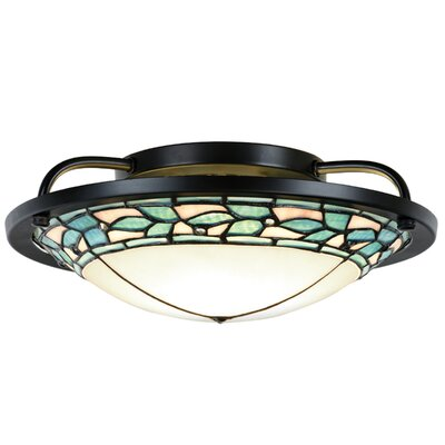 Green Leaves 1-Light Semi Flush Mount