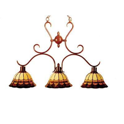 Chain Malcolm 3-Light Kitchen Island Pendant in Antique Brown