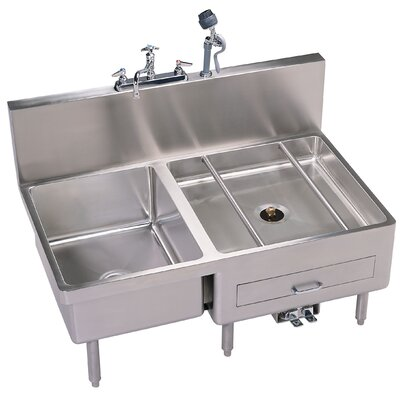 Combo 46 x 29 Single Sink and Utensil / Can Washer with Faucet