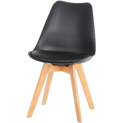 Genuine Leather Upholstered Dining Chair Finish: Black