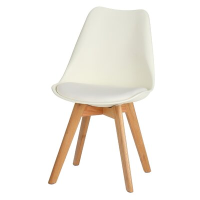 Genuine Leather Upholstered Dining Chair Finish: White