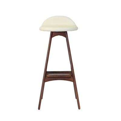 Dusty Bar Stool in White Leather Size: 26