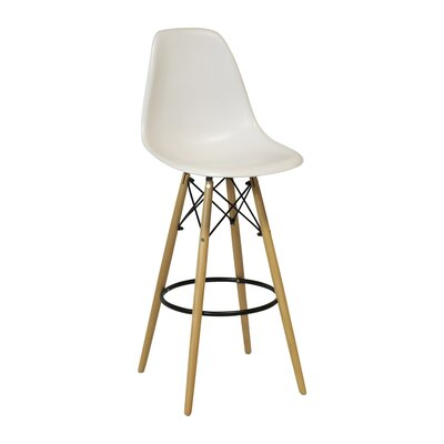26.4 inch Bar Stool Upholstery: White