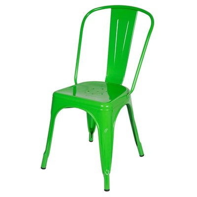 Industrial Side Chair Upholstery: Green