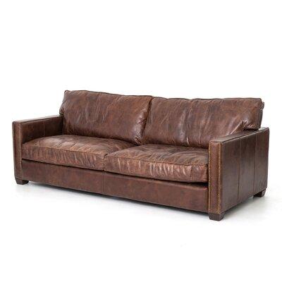 17 Stories Glenhaven Nailhead Leather Sofa