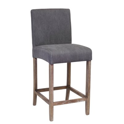 James 25.25 Counter Height Stool with Cushion Upholstery: Gray