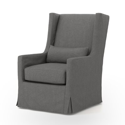 Swivel Wingback chair Finish: Antique Walnut, Upholstery: Finn Charcoal