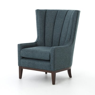 Elderton Channelled Wingback Chair Upholstery: Chess Peacock