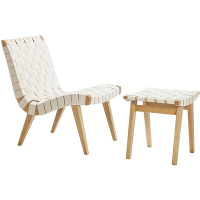 Woven Side Chair and Ottoma Upholstery : Natural White
