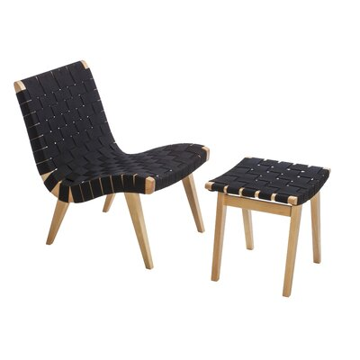 Woven Side Chair and Ottoma Upholstery : Black