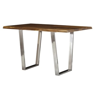 Live Edge Pub Table Color: Galvanized