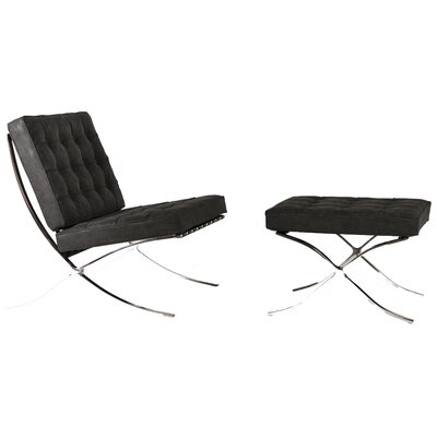 Martin Lounge Chair and Ottoman Upholstery: Distressed Black