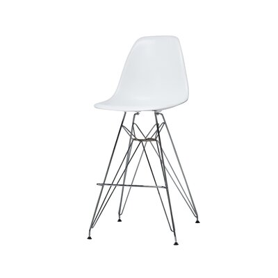 Alexander Mid Century Chromed Side Bar Stool Finish: White