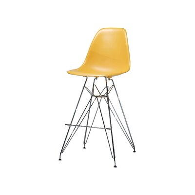 Alexander Mid Century Chromed Side Bar Stool Finish: Yellow