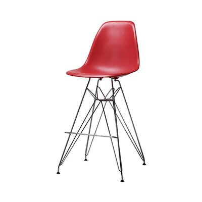 Alexander Mid Century Chromed Side Bar Stool Finish: Red