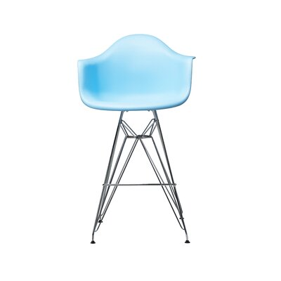 Jose Mid Century Chromed Arm Bar Stool Finish: Blue