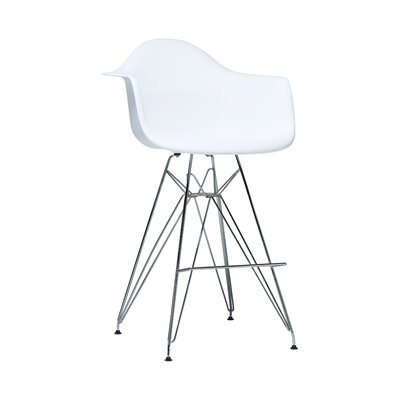 Jose Mid Century Chromed Arm Bar Stool Finish: White