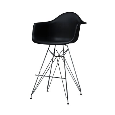 Jose Mid Century Chromed Arm Bar Stool Finish: Black