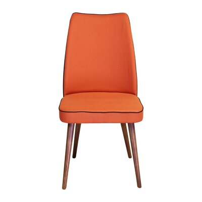 Edwin Upholstered Dining Chair Upholstery Color: Orange