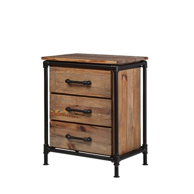 Industrial Reclaimed Pine 2 Drawer Nightstand