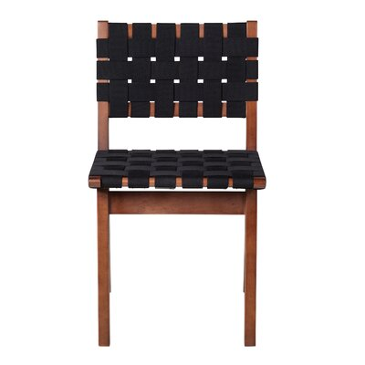 Woven Upholstered Dining Chair Upholstery Color: Black, Frame Color: Brown