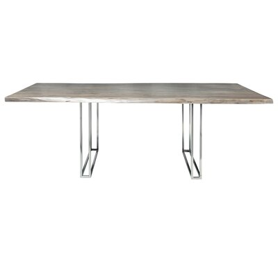 Sharmial Live Edge Dining Table Base Color: Chrome Cage, Size: 35.5