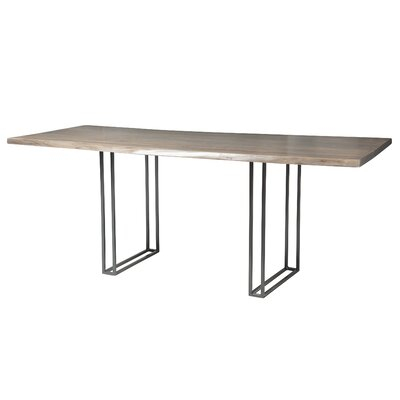 Sharmial Live Edge Dining Table Base Color: Matte Galvanized Cage, Size: 35.5 H x 92 W x 47 D