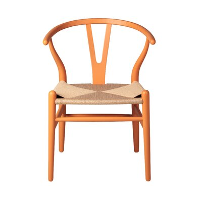 Amick Solid Wood Dining Chair Color: Orange