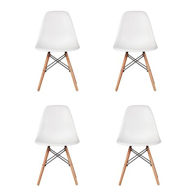Bonetti Mid Century Dining Chair Color: White