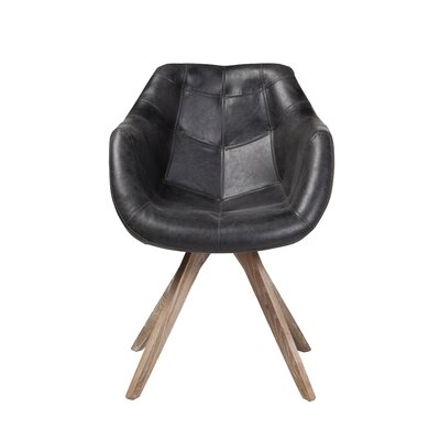 Arpana Genuine Leather Upholstered Dining Chair Color: Black